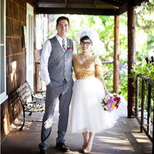 Country Style Short Wedding Dress,Gold Sequin Short Wedding Dress with 1/2 Sleeves,20110944-Dolly Gown
