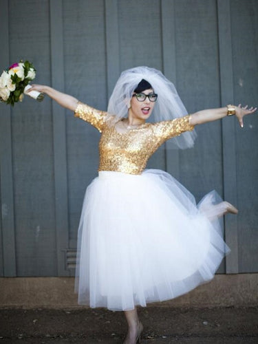 Country Style Short Wedding Dress,Gold Sequins Short Wedding Dress with 1/2 Sleeves,20110944