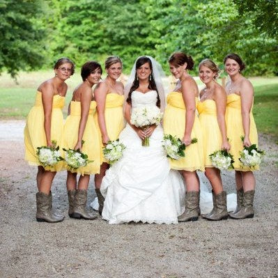 Country Style Summer Short Yellow Strapless Chiffon Bridesmaid Dresses with Cowboy Boots,20081802