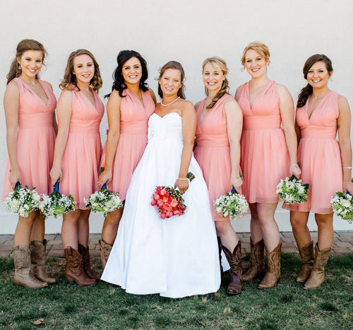 Country Westen Short Coral Bridesmaid Dresses,Rockabilly Bridesmaid Dresses with Boots,20082011