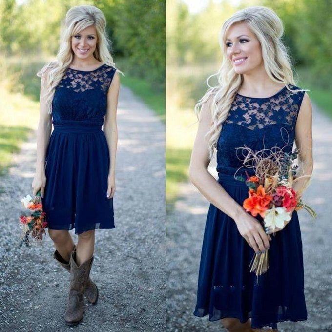 Country Blue Bateau Modest Lace Short Bridesmaid Dresses with Cowboy Boots,GDC1512