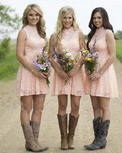 Country Blush Pink Lace Short Bridesmaid Dresses with Cowgirl Boots,GDC1508-Dolly Gown