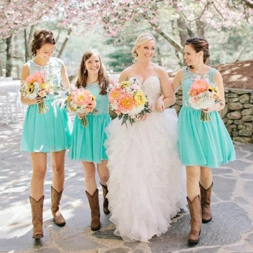 Country Mint Lace Top Chiffon Short Bridesmaid Dresses with Cowboy Boots,GDC1514