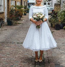 Country style Round Neck Polka Dots Tea Length Pin Up 50s Wedding Dress with Sleeves,GDC1516
