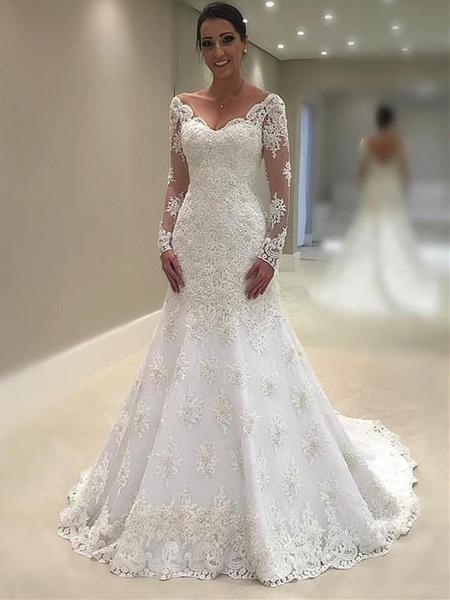 Wedding Dress With Sleeves.Custom Made Lace Mermaid Trumpet Wedding Dress With Sleeves V Neck Gdc1032