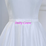 Pretty 50s Inspired Off Shoulders Tea Length Vintage Wedding Dress with Cute Bow at Waist,DO001