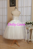 Retro Tulle Strapless Vintage 50s Style Rockabilly Wedding Dress Tea Length,Simple Bridal Gown,DO008