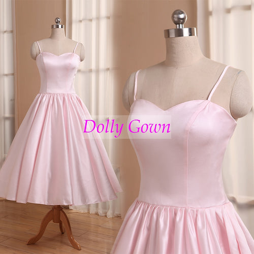 Pink Short Vintage Bridesmaid Dresses  with Spaghetti Straps,50s style bridesmaid dresses,20081102