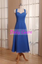 Royal Blue Halter Neck Tea Length 50s Style Bridesmaid Dress,vintage tea length bridesmaid dresses,20081103