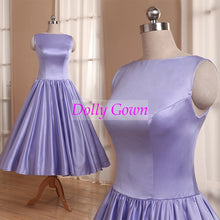 Lavender Tea Length Satin Bateau Neck Modest  Bridesmaid Dresses,Country Bridesmaid Dresses,20081104