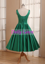 Emerald Green Bridesmaid Dress,Scoop Neck Tea Length 50s Style Bridesmaid Dress under $100-Dolly Gown