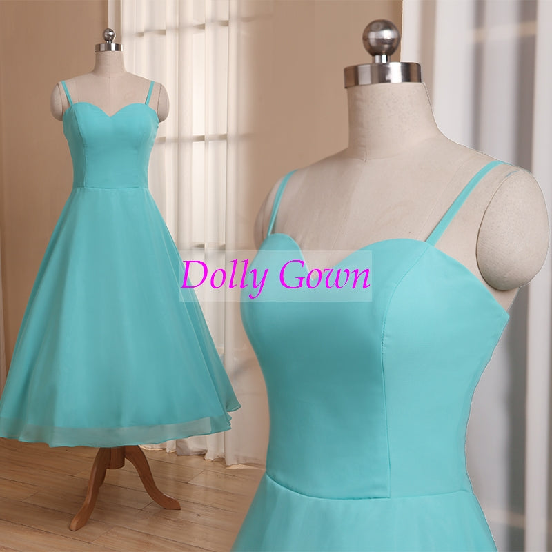 Blue Tea Length 50s Style Bridesmaid Dresses with Spaghetti Straps,20081105