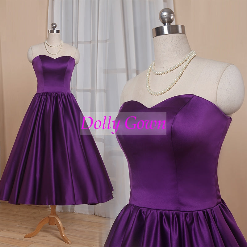 Purple Sweetheart 1950's Tea Length Country Style Rockabilly Bridesmaid Dresses