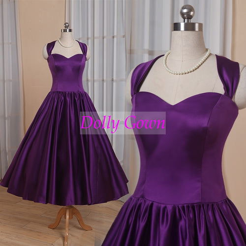 Halter Neck country bridesmaid dresses purple,tea length 50s style bridesmaid dresses