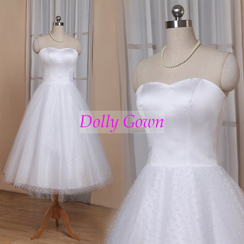 1950s Pin Up Rockabilly Polka Dots Strapless Tea Length Wedding Dresses