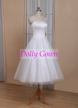1950s Pin Up Rockabilly Polka Dots Strapless Tea Length Wedding Dresses with Sleeves,GDC1522