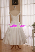 Vintage 1950s inspired  Off Shoulders Cotton Tea Length Wedding Dress with Lace Hemline