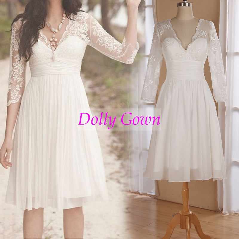 Summer Boho Beautiful Short Wedding Dresses with Long Sleeves,20072801