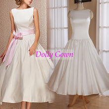 Modest Bateau Ankle Length Vintage inspired 50s Wedding Dress(Plus Size available),20072802