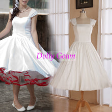 Romantic Rockabilly 50s Pip Up Wedding Dresses with Wide Pleated Strapes,20072804-Dolly Gown