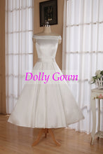 Vintage Style Simple Off Shoulders Tea Length Wedding Dress with Box Pleats Waitline,20072805