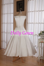 1950's Vintage Style Simple Off Shoulders Tea Length Wedding Dress with Box Pleats Waitline,20072805-Dolly Gown