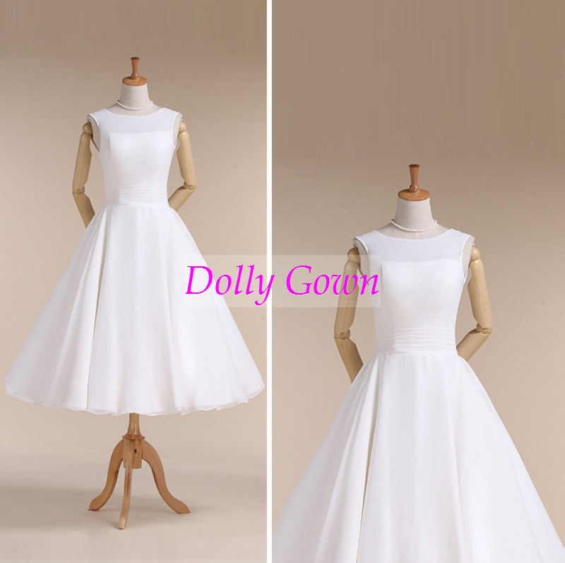 Chiffon Jewel Neck Vintage Style 50s Tea Length Wedding Dress for Older Brides over 40