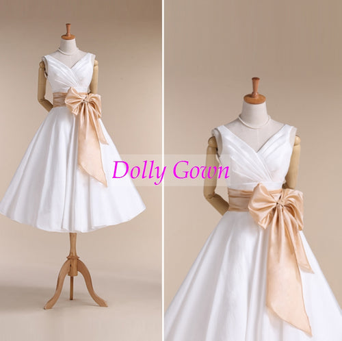 V Neck 50s Style Rockabilly Wedding Dress with Champagne Wait Belt for Older Brides,20072808