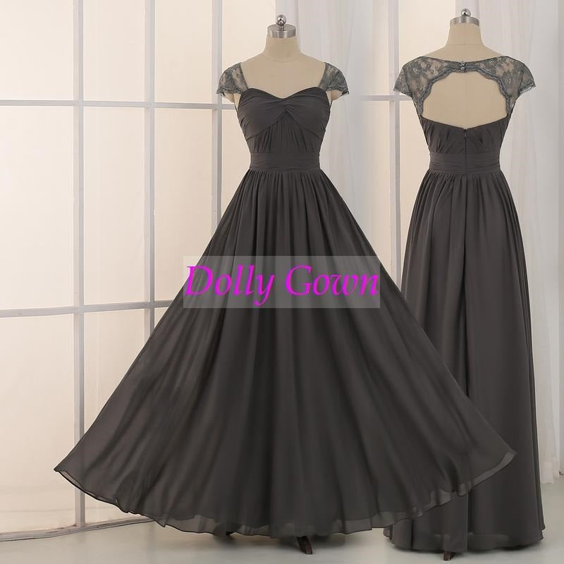 Dark Grey Long Bridesmaid Dresses,Chiffon Dark Gray Bridesmaid Dresses Long,18032701