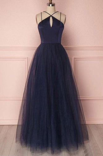 Dark Navy Tulle Simple Senior Prom Dress,Long Party Formal Gown,GDC1132