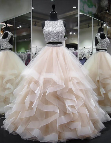 Dazzling Crop Top Princess Ruffles Skirt Two Piece Prom Dress,Prom Dress Long Ball Gown,GDC1336