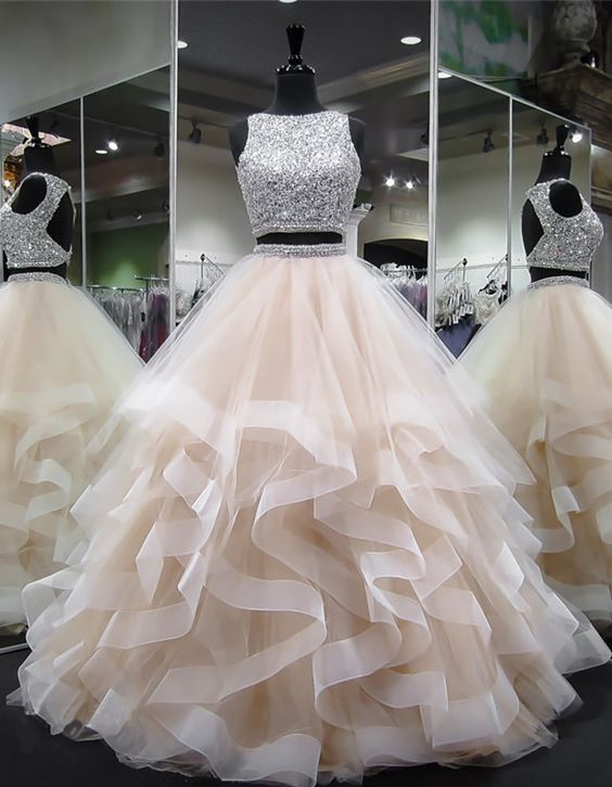 Dazzling Crop Top Princess Ruffles Skirt Two Piece Prom Gown,Prom Dress Long Ball Gown,GDC1336