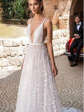Deep-V Neck 3D Floral Lace Romantic A line Boho Wedding Dress, Robe de mariée,GDC1050
