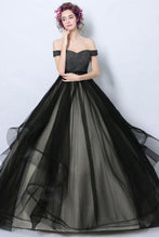 Delicate Black Tulle Off Shoulders Princess Ball Gown Wedding Dress,GDC1218
