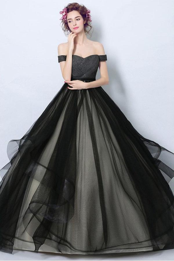 Delicate Black Tulle Off Shoulders Princess Ball Gown Wedding Dress Gdc1218