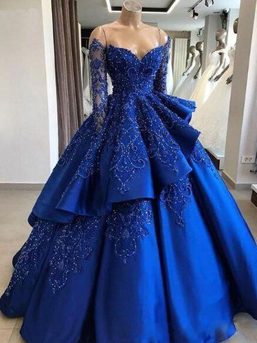 Delicate Sparkly Beading Ball Gown Satin Royal Blue Prom Dress with Sleeves Quinceanera Dress,GDC1286