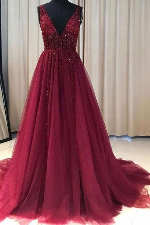 Discount Custom Made Burgundy Tulle Prom Dress Long,GDC1200