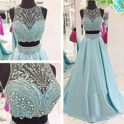 Disney Prom Dress,Blue Prom Dress,Two Piece Prom Dress,Ball Gown Prom Dress,MA067