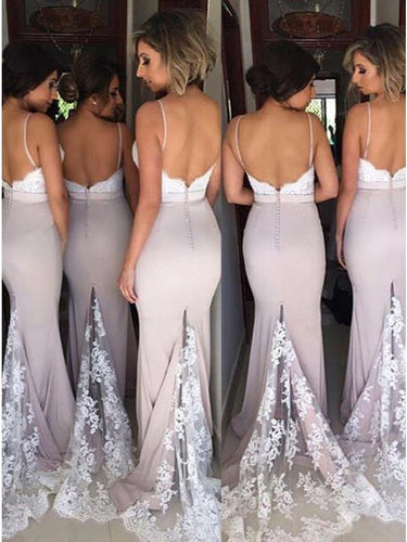 Dove Grey Gray Bridesmaid Dresses Mermaid Bridesmaid Dresses Lace Sexy Bridesmaid Dresses Spaghetti Straps Fs016-Dolly Gown
