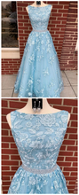 Dusty Blue 2021 A-line Backless Prom Dress Long Dusty Blue Lace Formal Dress #21011220-Dolly Gown