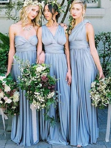 Top Trending Dusty Blue Mismatched Convertible Long Cheap Bridesmaid Dresses,#110501