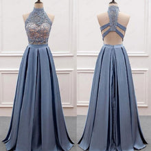 Dusty Blue Prom Dress,Two Piece Prom Dress,Lace Top Prom Dress,Graduation Dresses for 8th Grade,20082014-Dolly Gown