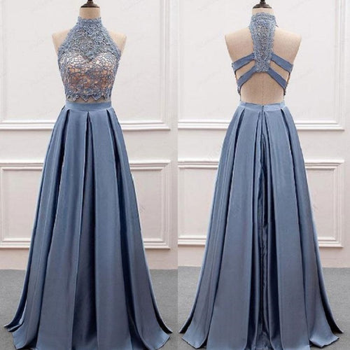Dusty Blue Prom Dress,Two Piece Prom Dress,Lace Top Prom Dress,Graduation Dresses for 8th Grade,20082014