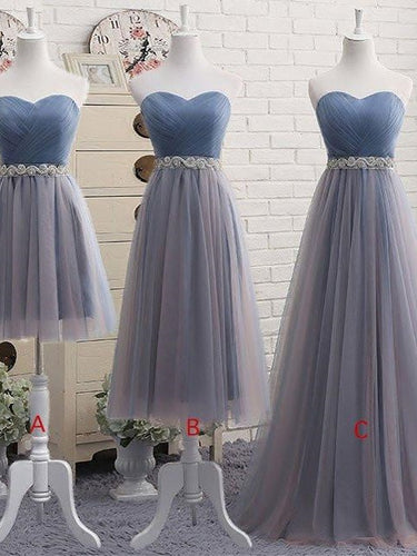 Dusty Blue Tulle Strapless Prom Dress in Different Length with Rinestones Belt 201707205-Dolly Gown