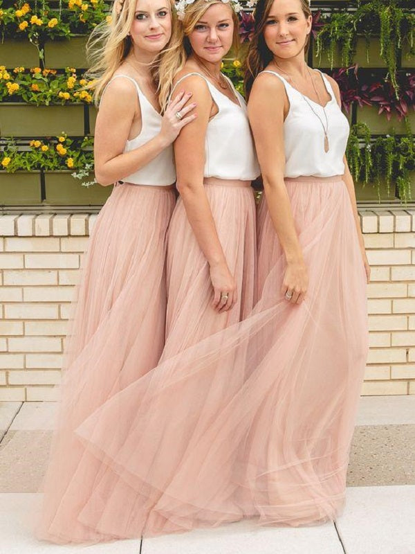 Dusty Pink Boho Bridesmaid Dresses,Rustic Bridesmaid Dresses,Tulle Skirt Bridesmaid Dresses,Fs015-Dolly Gown