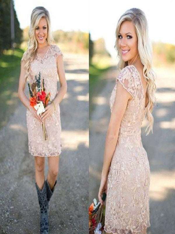 Dusty Pink Bridesmaid Dresses with Boots, Country Rustic Lace Short Bridesmaid Dresses,GDC1507