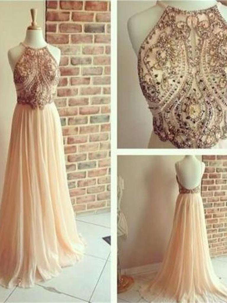 Dusty Pink Formal Dresses Backless Prom Dress Beaded Long Prom Dress MA041-Dolly Gown