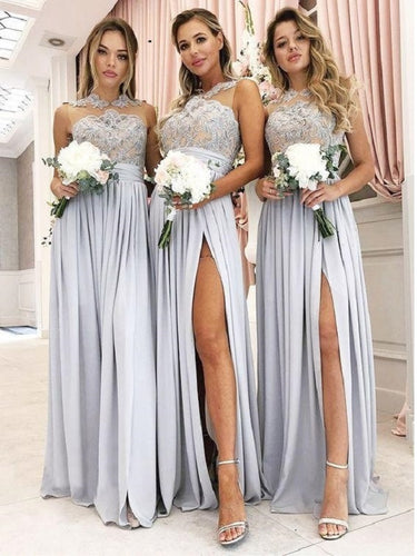 Dusty Blue Boho Jewel Neck Chiffon Slit Bridesmaid Dresses with Delicate Lace Top,GDC1213