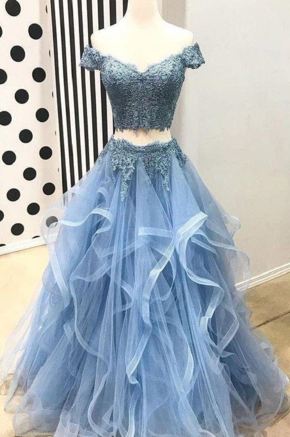 Dusty Blue Two Piece Off Shoulders Ruffles Skirt Prom Dress,Sweet 16 Dress,GDC1292-Dolly Gown