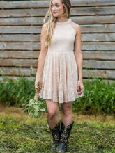 Dusty Country Rustic Lace Halter Short Bridesmaid Dresses with Cowboy Boots,GDC1511